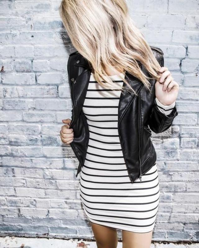 Modern leather jacket and elegant dress