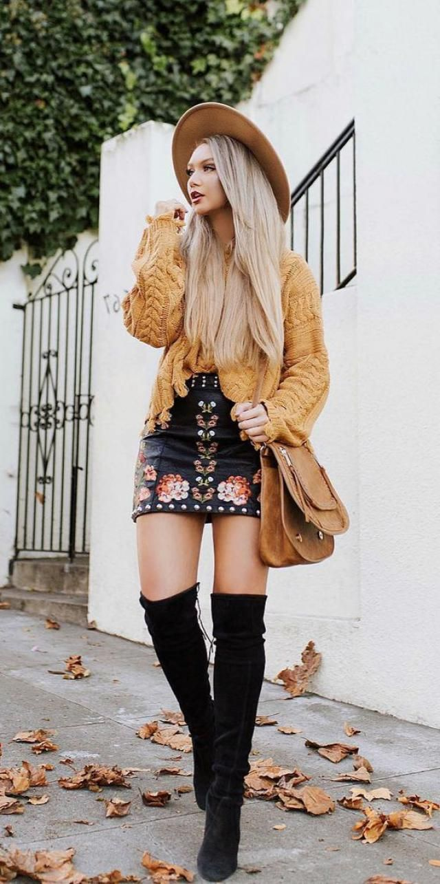 Yellow sweater is a good combination for every skirt