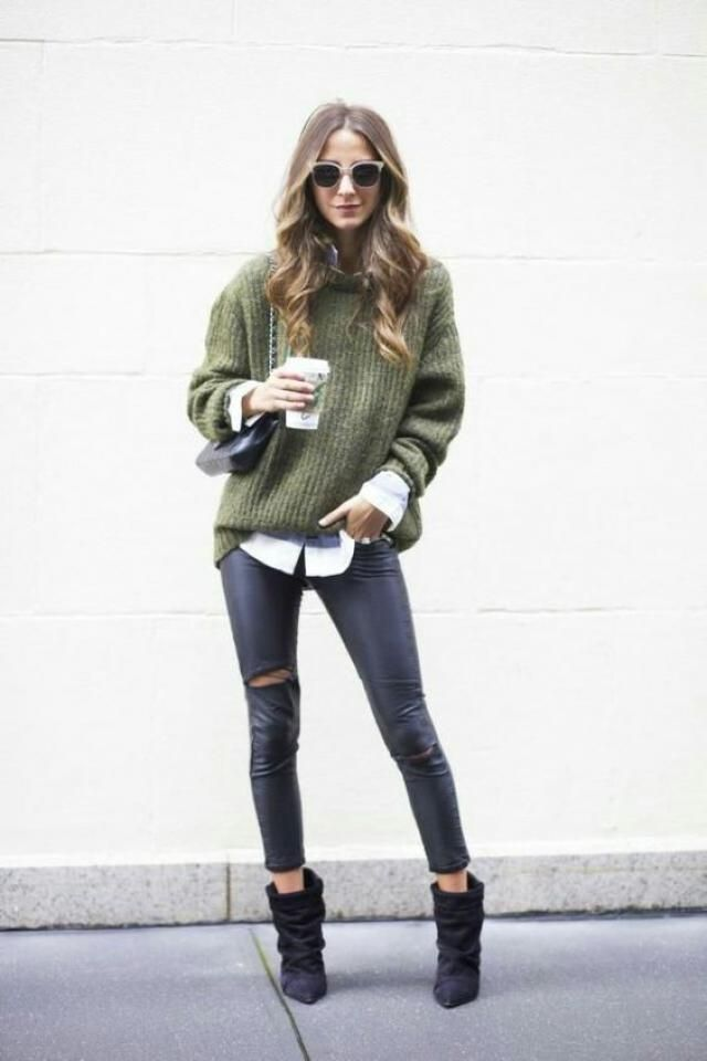 Sweater  Army Green And  Leather  Pants Black 