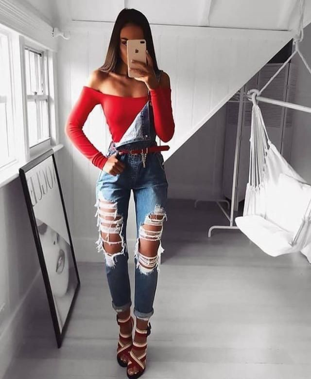 For a casual and baddie look, pair a denim overall over an off shoulder red top and finish it with a small red belt to …