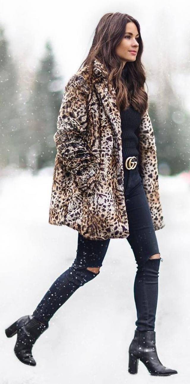 Coat Leopard And Black Jeans
