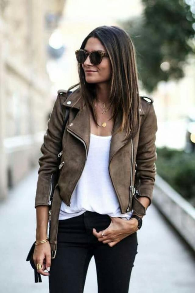 Belted Zipped Faux Suede Biker Jacket
