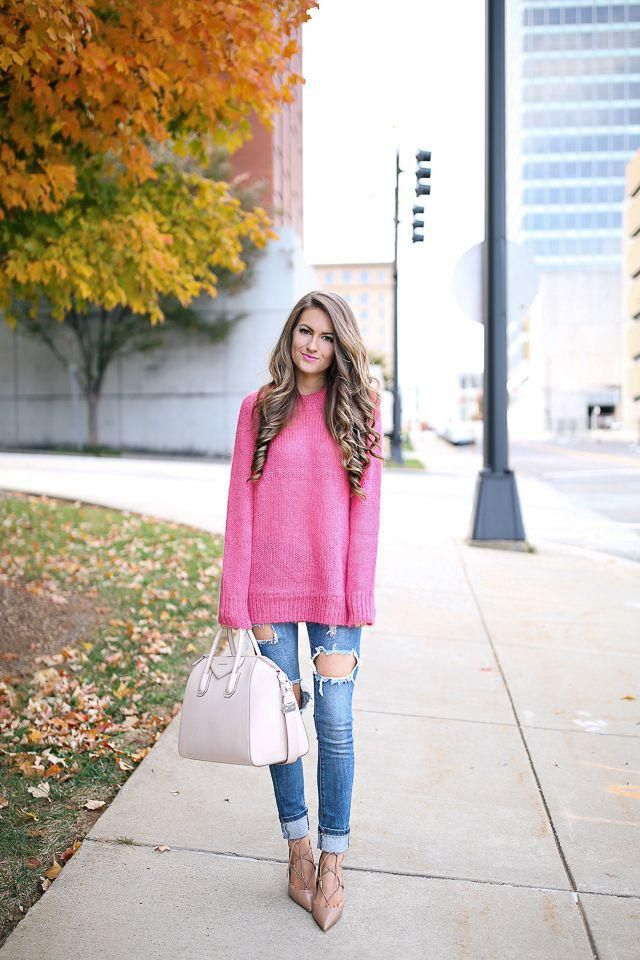 Skinny Jeans Denim Dark Blue Jeans and pink sweater,buy here,only best of ZAFUL!!!