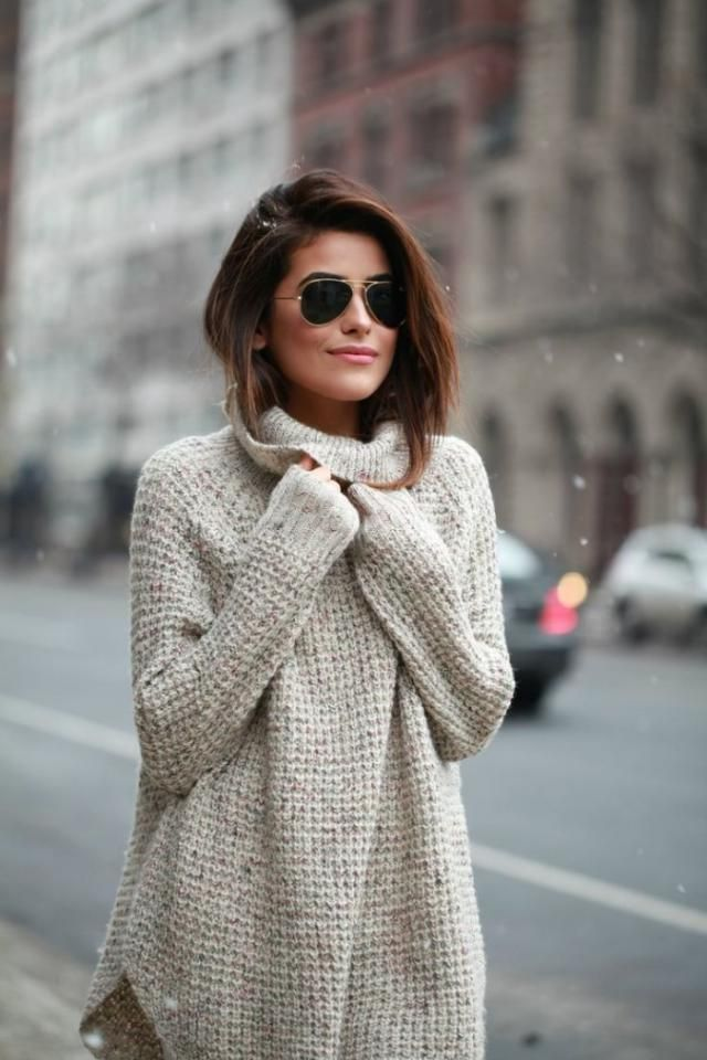 Relaxed Drop Shoulder Turtleneck Sweater Perfect turtleneck sweater and sunglasses ,buy here,ZAFUL is the best!!! Loo…