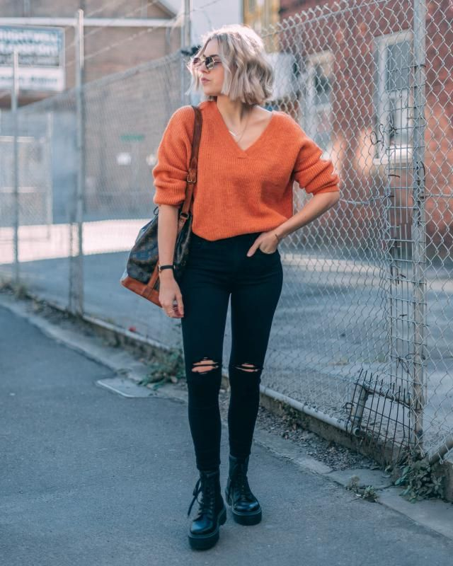For a stylish casual look try this beautiful orange sweater with pair of ripped black jeans, i really like this look   …