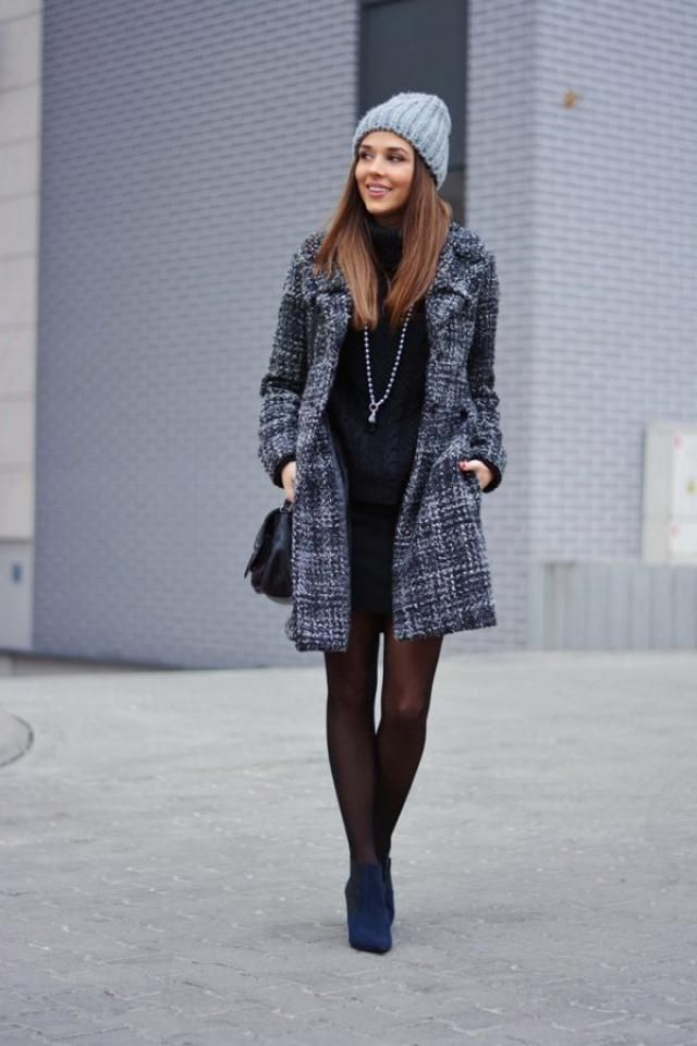 Houndstooth Tweed Winter Coat 