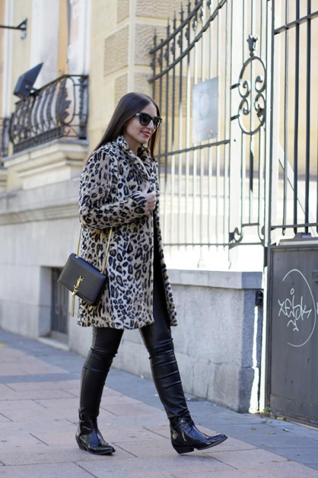 Leopard Print Faux Fur Open Coat