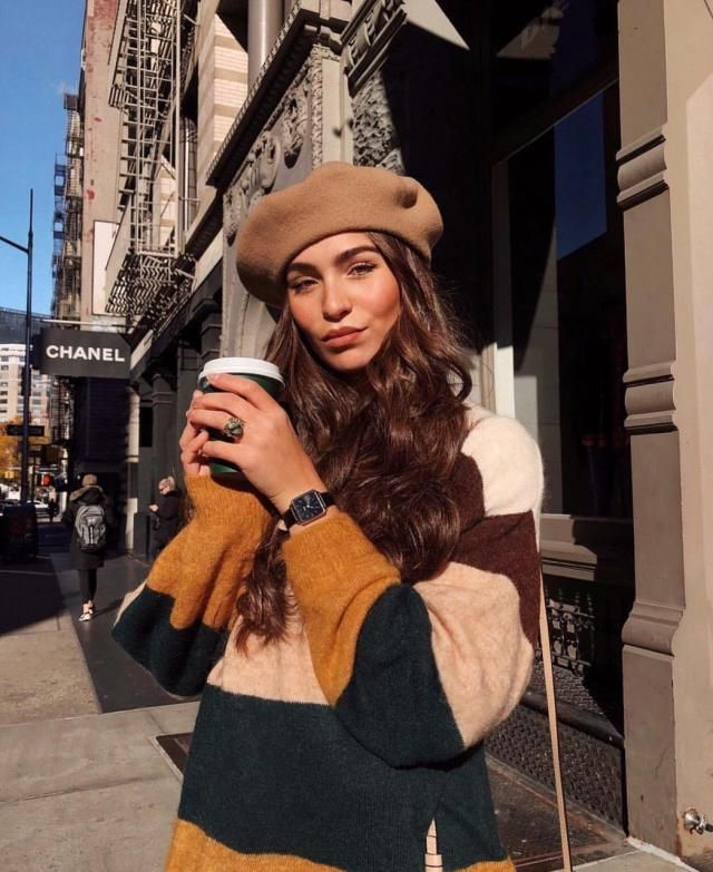 Try this color block sweater with this beige hat for a date or any time you want to be a bit fancy but still look comfo…