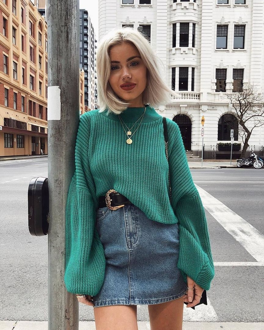 148c9778cf7 This Is A Cute Outfit I Just Love The Green Sweater So Pret...