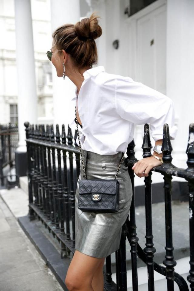 Mini Metallic High Waist Skirt Silver