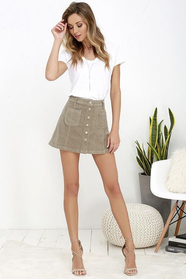 Button Front Corduroy Pockets Skirt Classic corduroy starts at a high waist with belt loops atop an A-line silhouette …