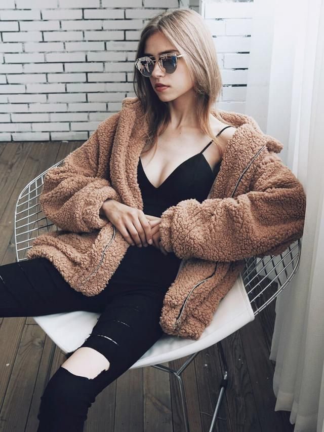 Cozy Faux Fur Winter Coat Camel Brown Nice winter coat and jeans, BUY HERE ! ZAFUL IS THE BEST !!!