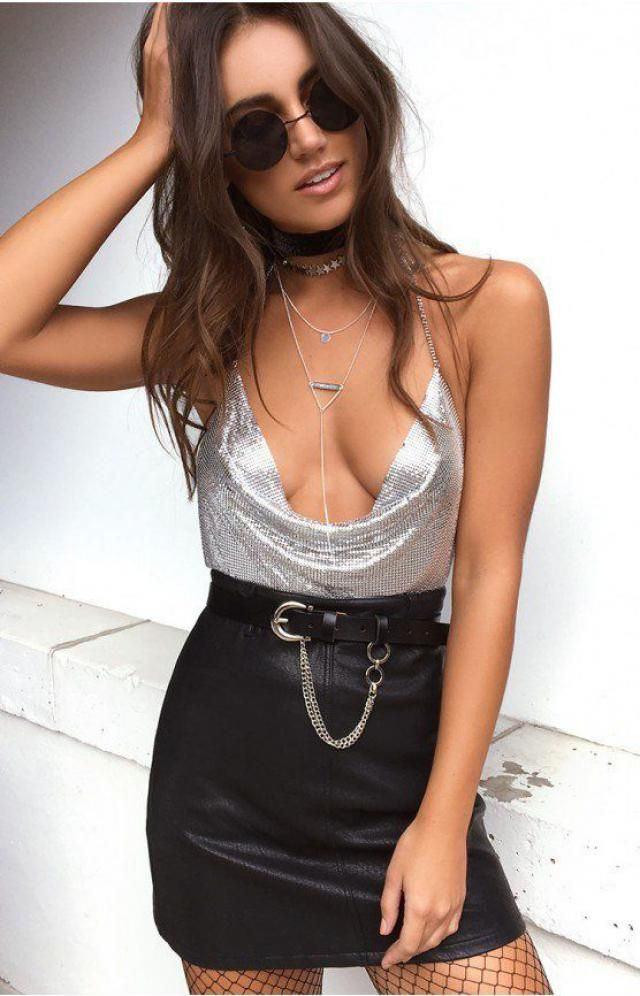Spaghetti Straps Tank Top  Silver