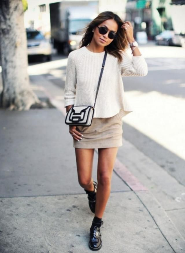 634debd1996 Dropped Shoulder Sleeve Boxy Sweater Warm White Perfect sweater and mini  skirt .BUY HERE !