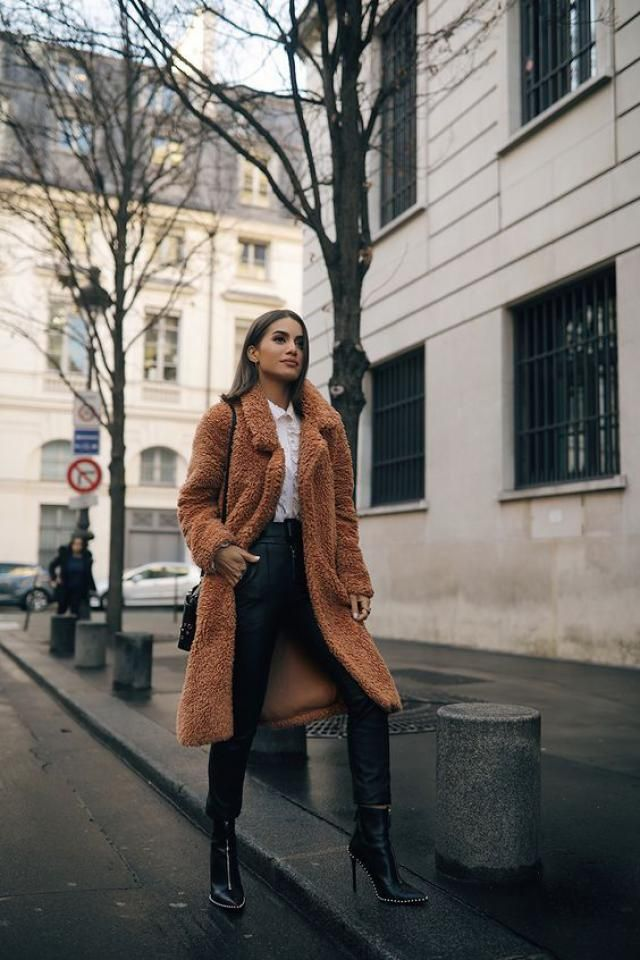 Double Breasted Fluffy Faux Fur Winter Coat Brown 