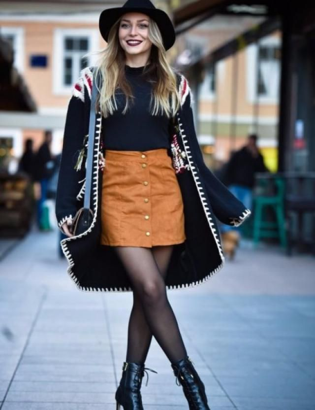 Button Front Pocket Mini Skirt Brown