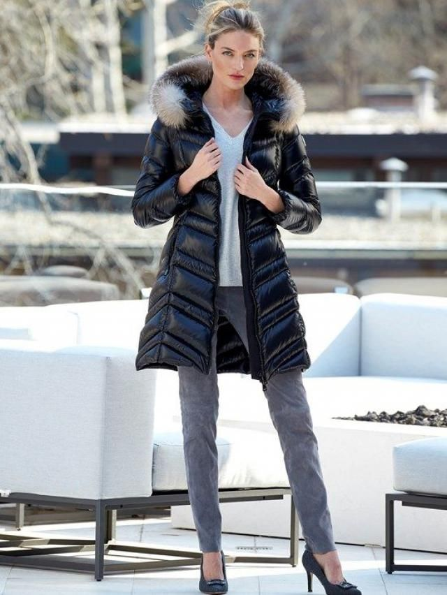 Solid Faux Fur Lined Pocket Patchwork Quilted Coat Black 