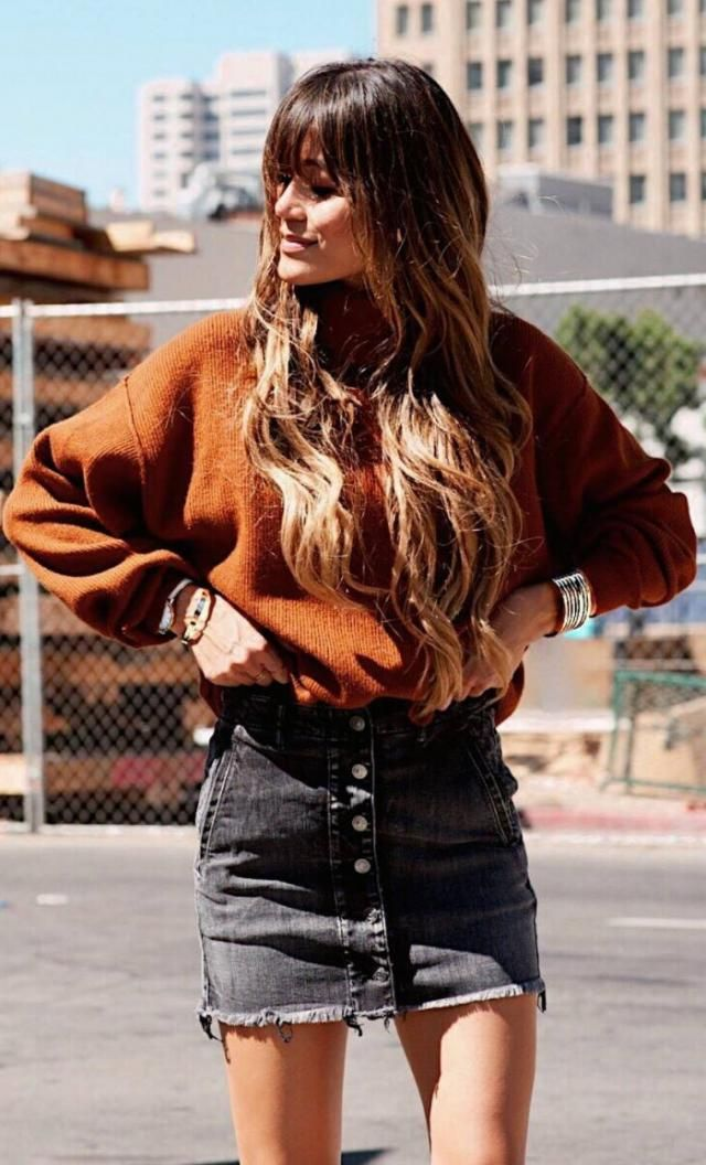 Turtleneck Sweater  Brown Warm turtleneck sweater and denim skirt. BUY HERE !