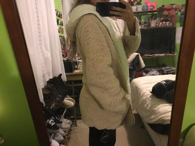 IN LOVE WITH THIS! super warm and soft! feel like you're wearing a blanket. I got the small and it fits oversized whic…
