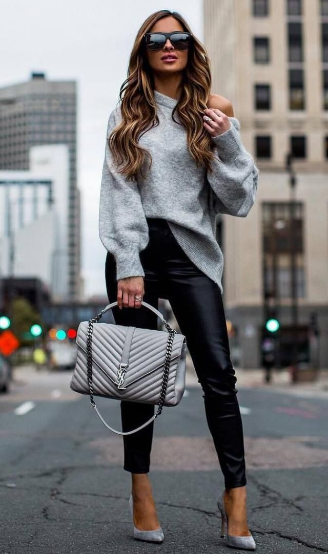 Off The Shoulder Lantern Sleeve Pullover Sweater Gray