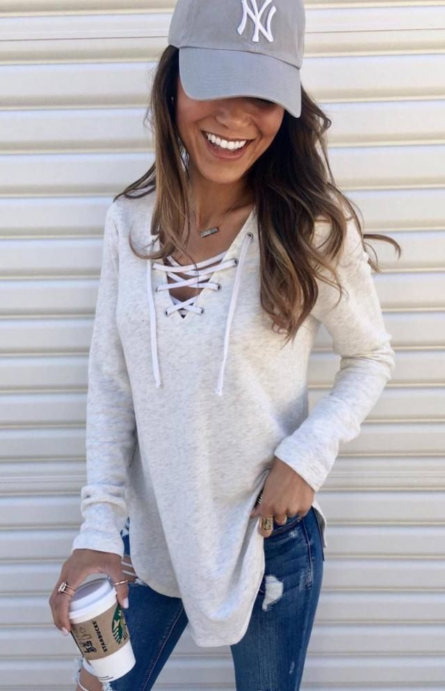 Lace Up Scoop Neck Sweater  White