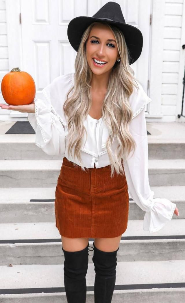 Corduroy Mini Skirt  Chocolate 
