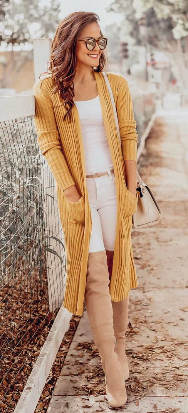 Slit Open Front Longline Cardigan  Yellow
