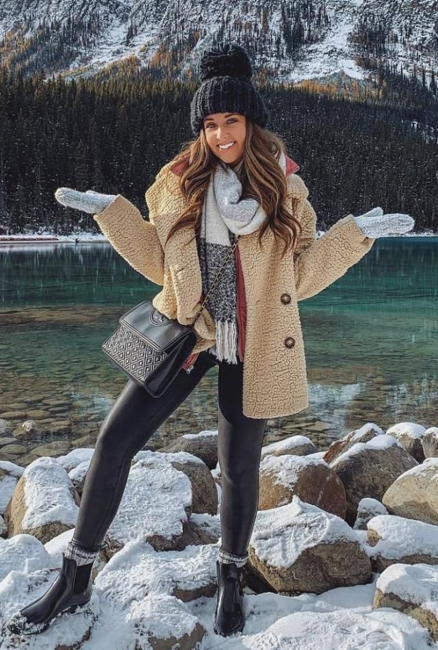 Contrast Trim Fluffy Faux Fur Coat  Wonderful coat with leggings and hat,BUY HERE!Online shop!