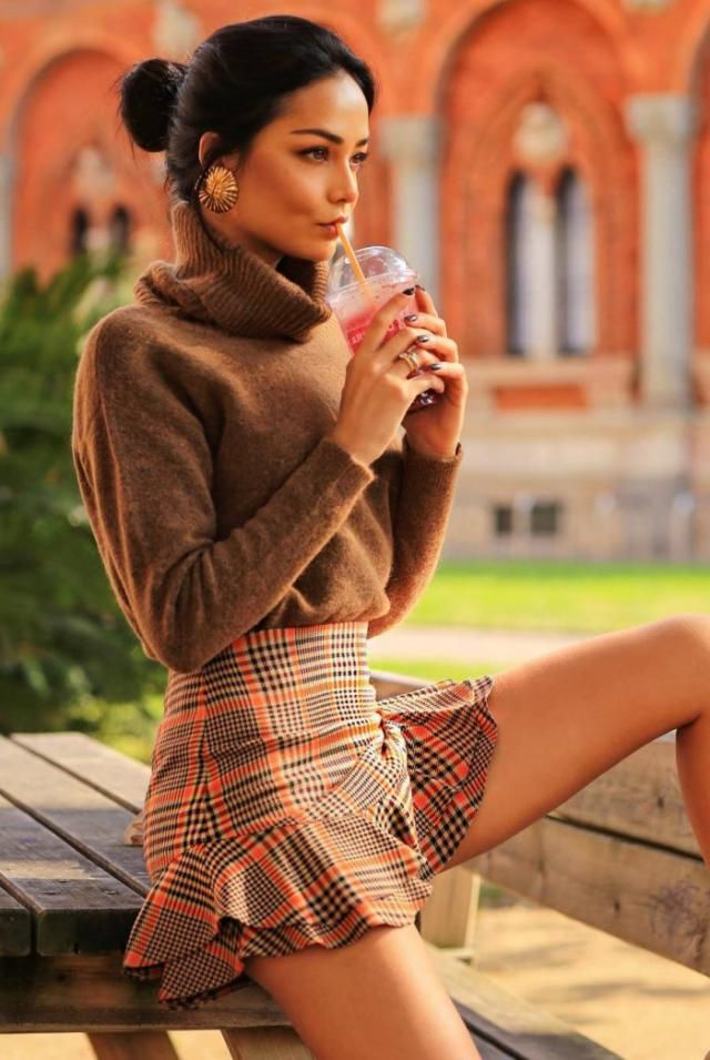 Casual Drop Shoulder Turtleneck Sweater Brown Cute ruffles mini skirt and sweater, BUY HERE! ZAFUL IS THE BEST!!!    …