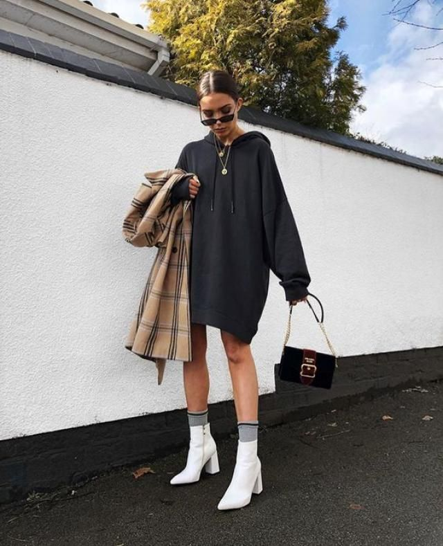 I love this outfit hoodie with classy plaid coat it's really unique