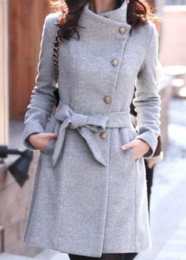 Belted Wrap Collar Faux Wool Winter Coat