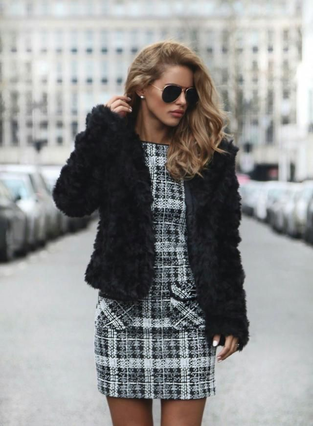 Snap Button Fluffy Faux Fur Coat Black