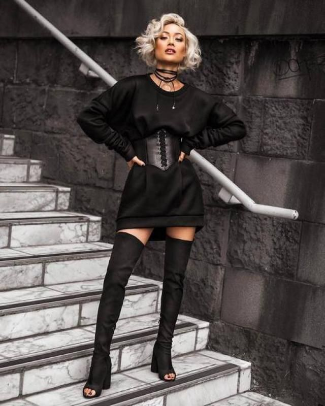 Drop Shoulder Sweatshirt Dress  Black Top mini dress with belt, buy here,only in ZAFUL!