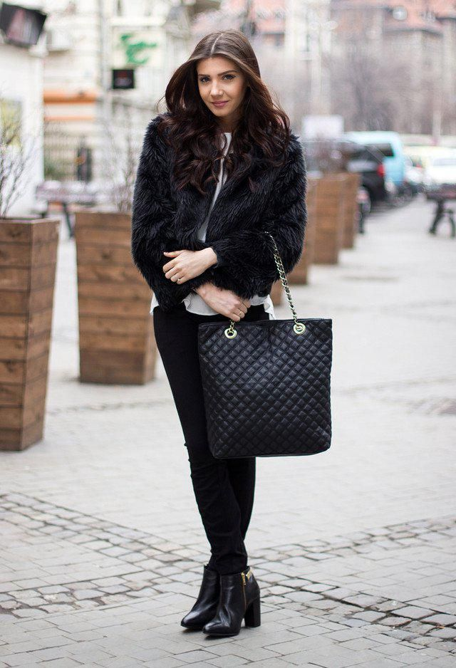 Faux Fur Coat  Black   Warm faux fur coat and pants ,and boots ,BUY HERE! Only in ZAFUL ,online shop!