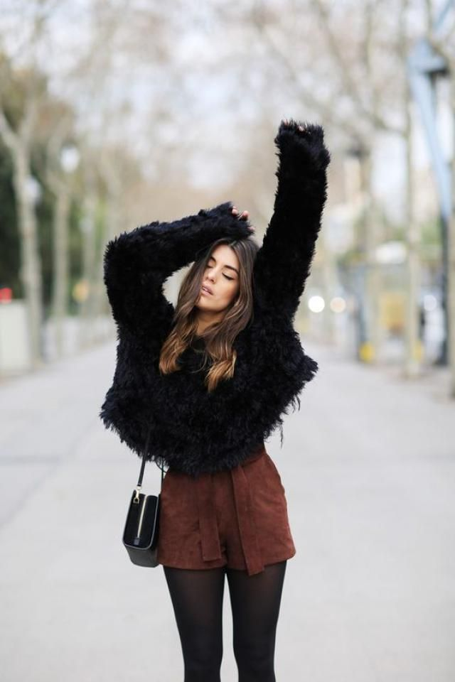 Collarless Fuzzy Coat  Black