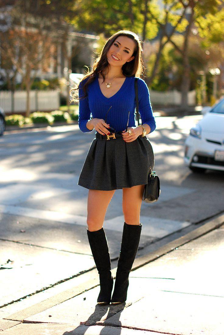 e7b30a0ae3 V Neck Oversized Sweater Blue  Cute Mini Skirt And Sweane...