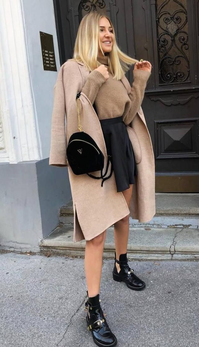 Coat Camel Brown /Perfect brown coat and mini skirt with sweater, Buy here ,Great discounts, for Christmas and New Yea…