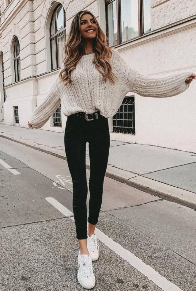 Slit Cable Knit Sweater  Warm White Top sweater with  jeans,and sneakers , Buy here ,Great discounts, for Christmas an…