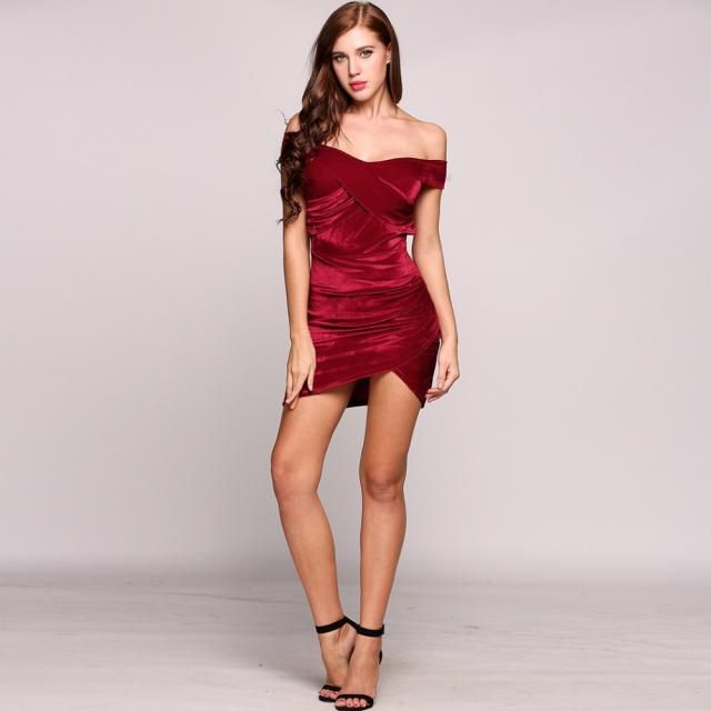 Bodycon Mini Party Dress  Red Wine