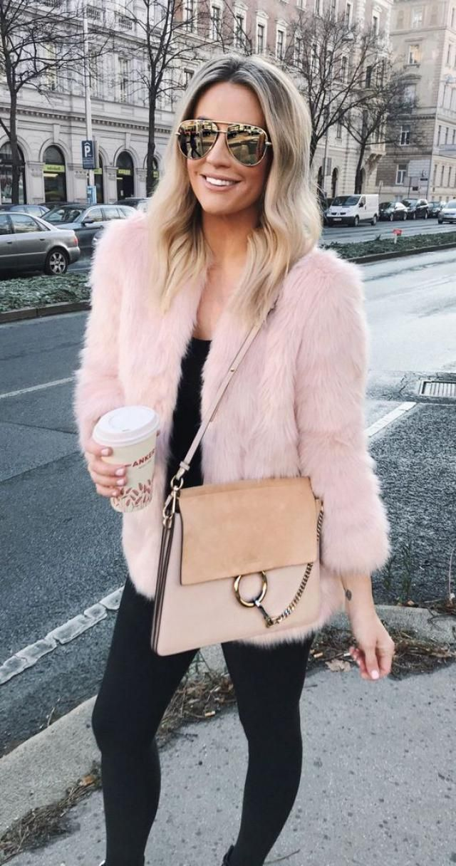Open Front Fluffy Faux Fur Winter Coat  Pink