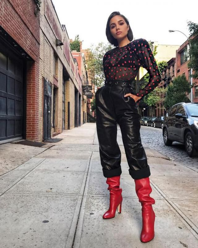 PU Leather High Waist Belted Pants Black /Perfect leather pants and blouse, Buy here ,Great discounts, for Christmas a…