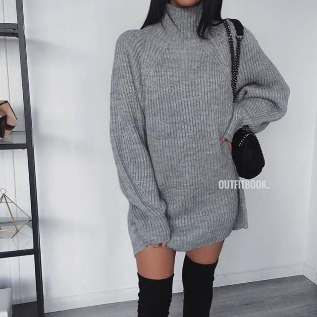 This is a stunning gray turtleneck sweater dress it looks so chic with long boots