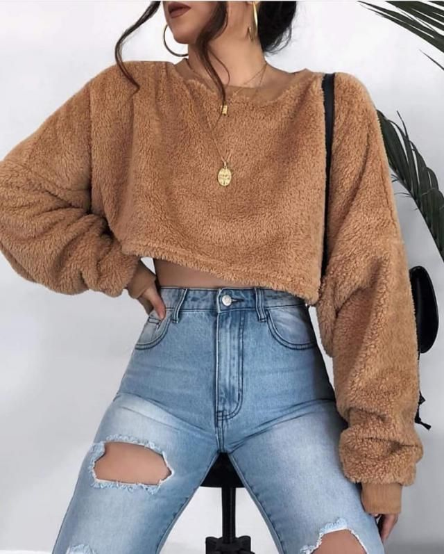 For a stylish casual look try this beautiful teddy sweatshirt with ripped jeans
