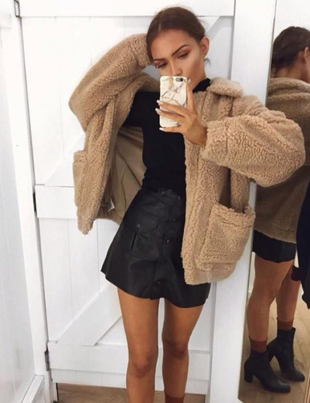 Zip Up Pockets Faux Fur Coat