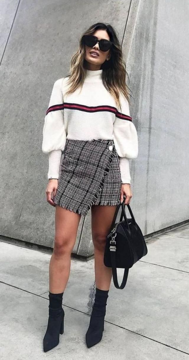Slit Striped Sweater  White 