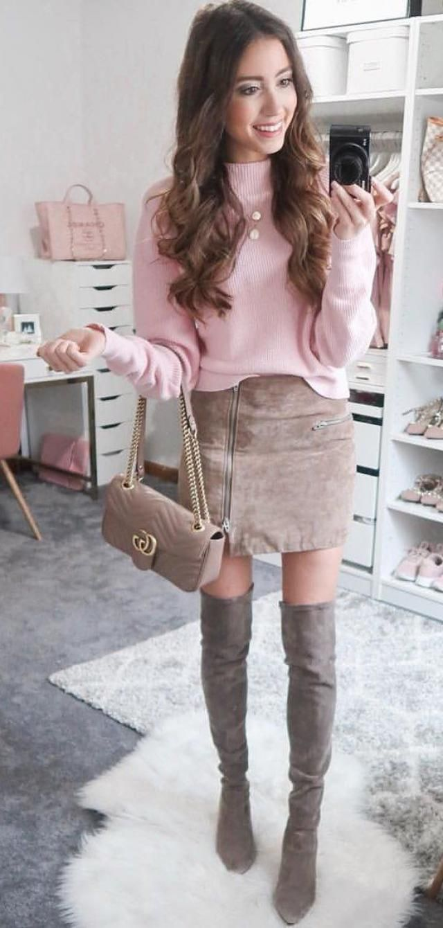 Faux Suede Zipper Bodycon Skirt