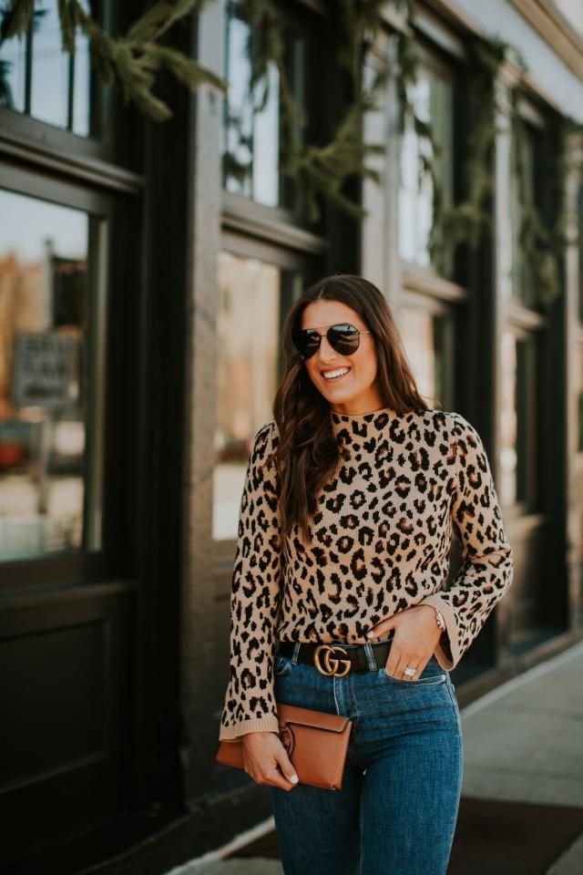 Blouson Sleeve Leopard Jacquard Sweater