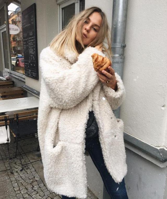 Open Front Fluffy Teddy Coat Warm white coat ,  BUY HERE ! ZAFUL IS THE BEST !!!