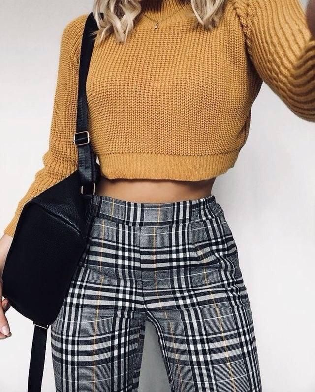Another casual chic everyday look consisting of cute yellow sweater and plaid pants