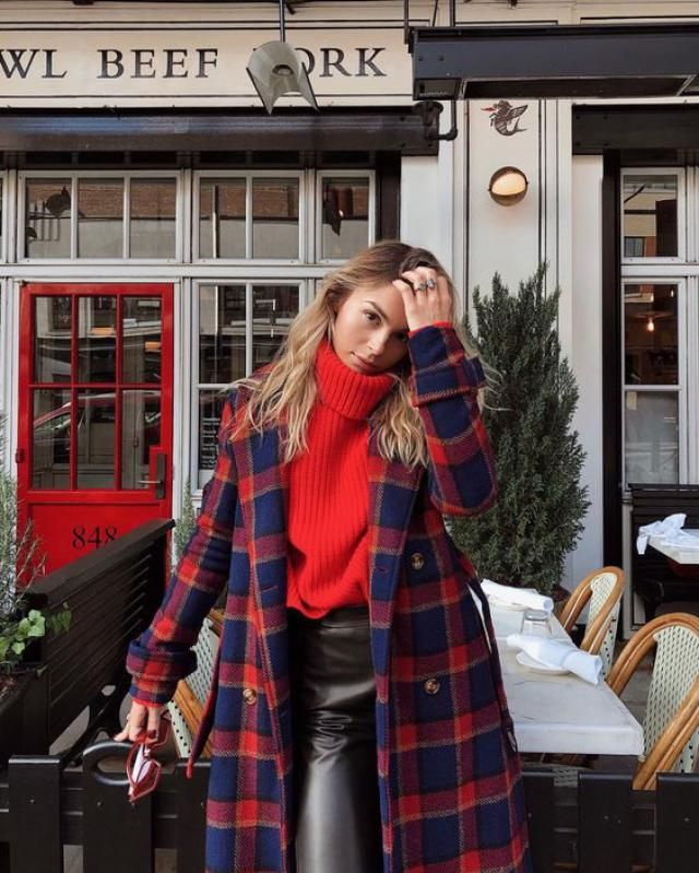 Make a real statement on the streets, wearing a chic plaid coat with a stunning red sweater and pair of faux leather pa…